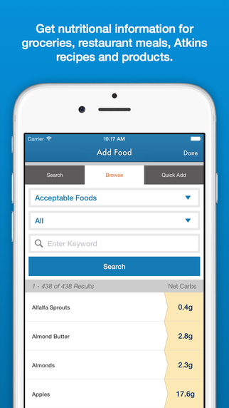 Atkins Carb Tracker - low carb diet weight loss meal planner nutrition food tracker recipe search ca