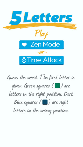 Five Letters - A Word Guessing Game with Zen and Time Attack Modes