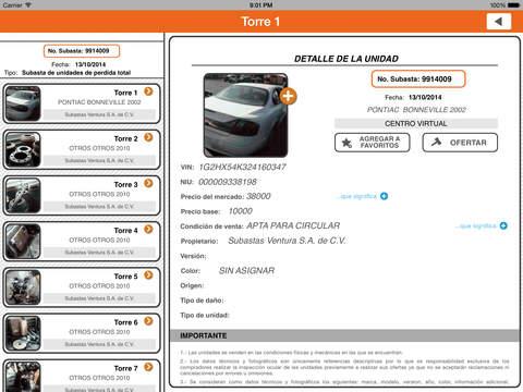 Subastas Ventura iPad Screenshot 4
