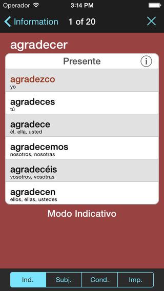 VerbForms Español iPhone Screenshot 4