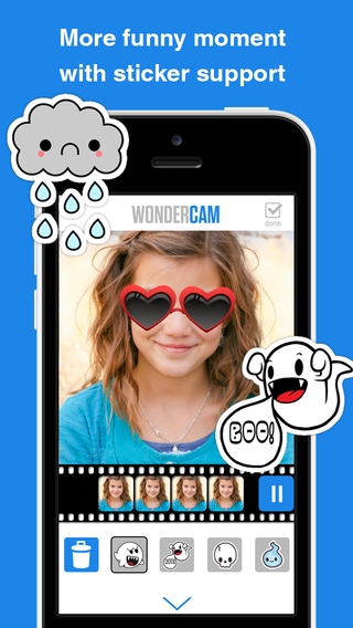 WoCam plus - Videoshop with toolkit for adding frames stickers effect and music background