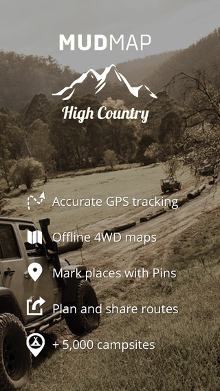 High Country 4WD Maps Mud Map GPS navigation app with interactive campsites for Vic High Country