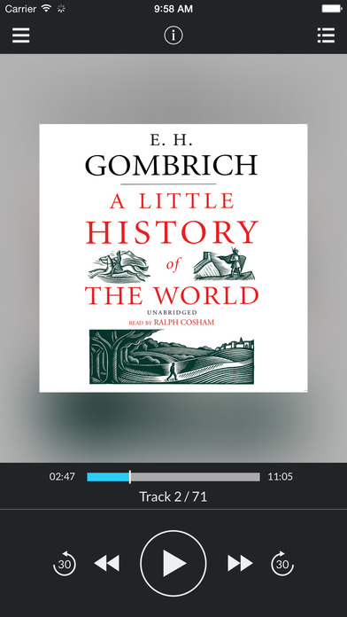 A Little History of the World (by E. H. Gombrich) (UNABRIDGED AUDIOBOOK) : Blackstone Audio Apps : Folium Edition iPhone Screenshot 1
