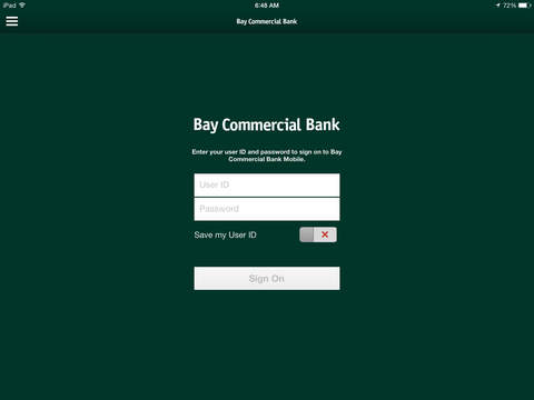 Bay Commercial Bank Mobile for iPad