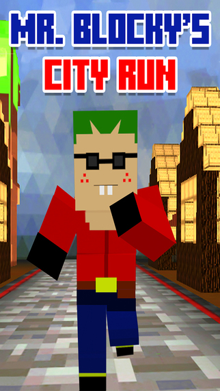 Mr. Blocky's City Run Adventure: 3D Speed Jump Road-Runner FREE
