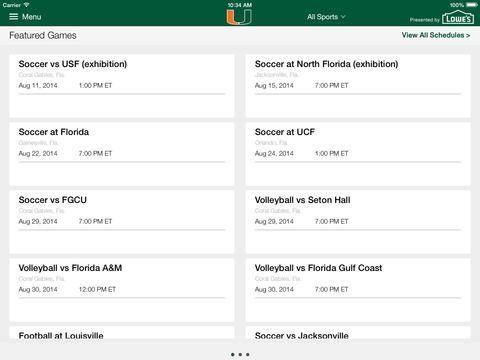 Miami Hurricanes for iPad 2014