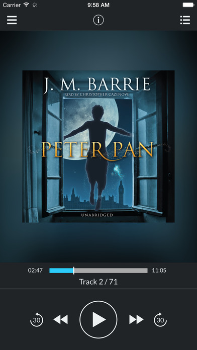 Peter Pan (by J. M. Barrie) (UNABRIDGED) : Blackstone Audio : Folium enhancedAudio edition iPhone Screenshot 1