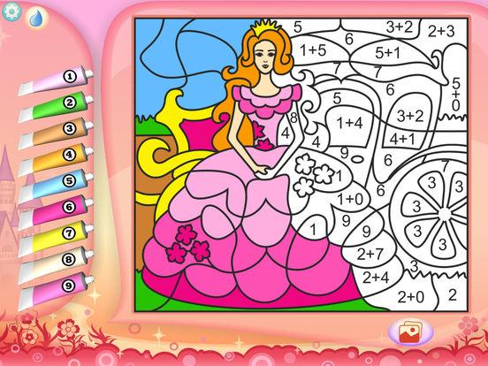 Раскрась по номерам - Принцессы - Бесплатно
