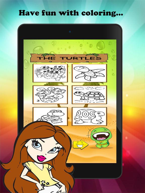 Черепаха мультфильм Краска и раскраска Обучение Мастерство - Забавные игры бесплатно для детей Скриншоты6