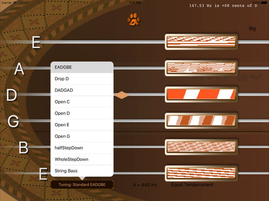 inTuna Strobe Guitar Tuner HD iPad Screenshot 1