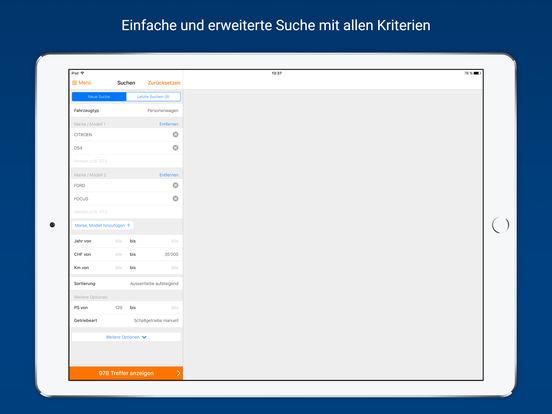 AutoScout24 – Online-Plattform für Occasionen und Neuwagen in der Schweiz iPad Screenshot 1