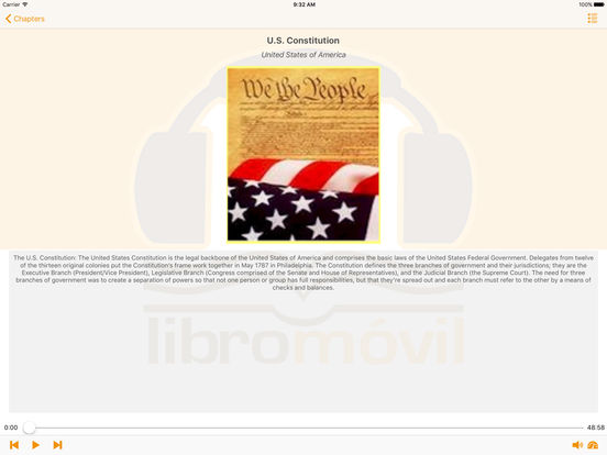 Historical Documents of The United States - AudioBook iPad Screenshot 1