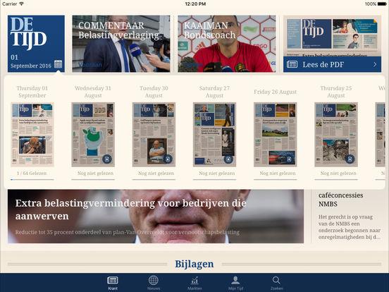 De Tijd iPad Screenshot 1