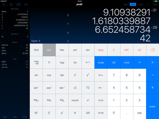 PCalc RPN Calculator iPad Screenshot 1