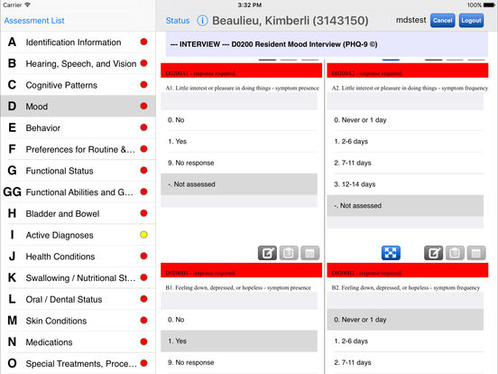 PointClickCare Mobile MDS iPad Screenshot 3