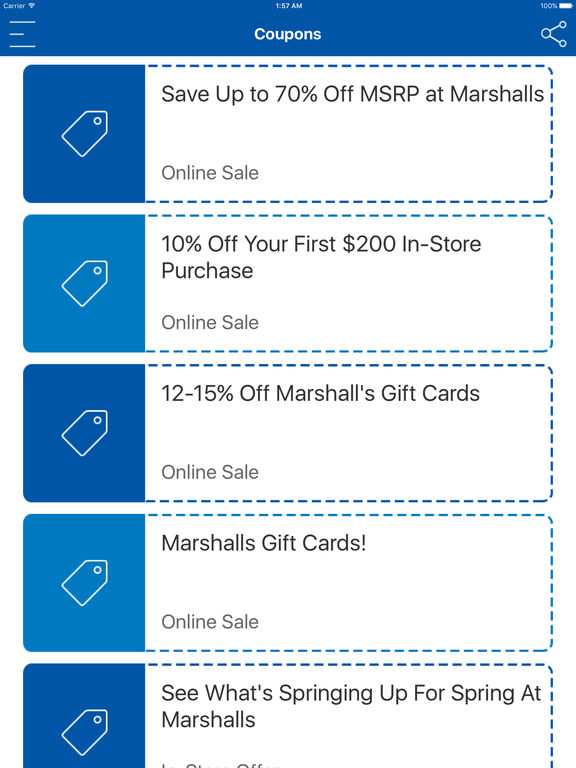 Marshalls discount coupons