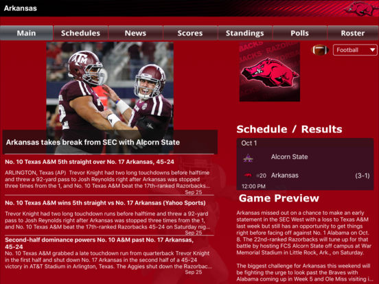 Arkansas Razorbacks College SuperFans iPad Screenshot 1