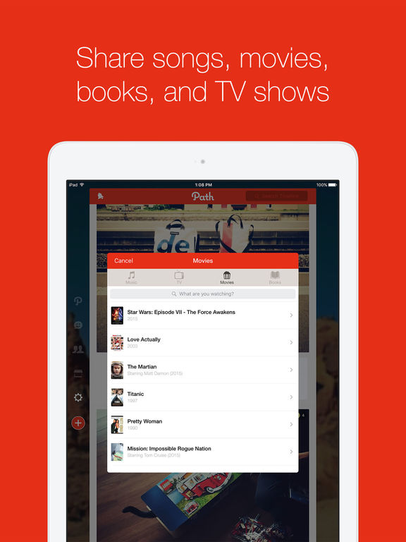 Screenshots of Path for iPad