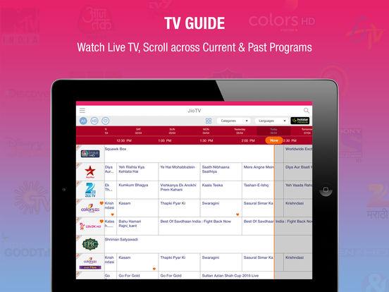 Jio TV iPad App Screenshots - TV Guide