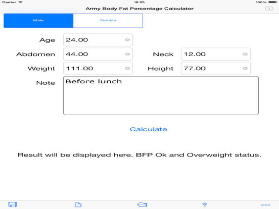 Army Body Fat Percentage Calculator for iPad iPad Screenshot 4