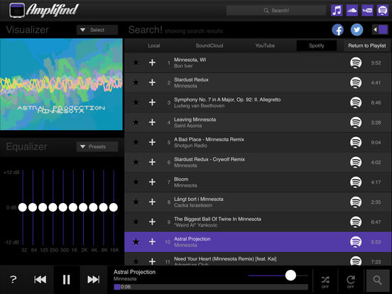 Amplifind Music Player and Visualizer Screenshots