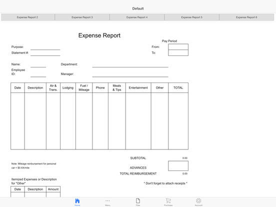 Expense Reimburse Log Screenshots
