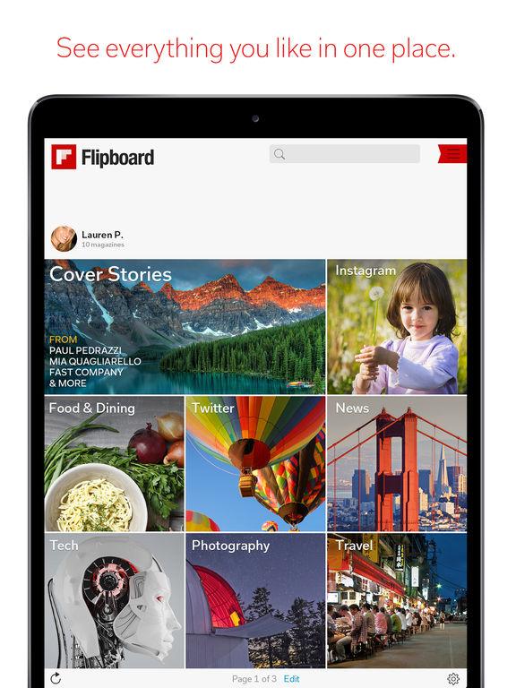 Screenshots of Flipboard for iPad