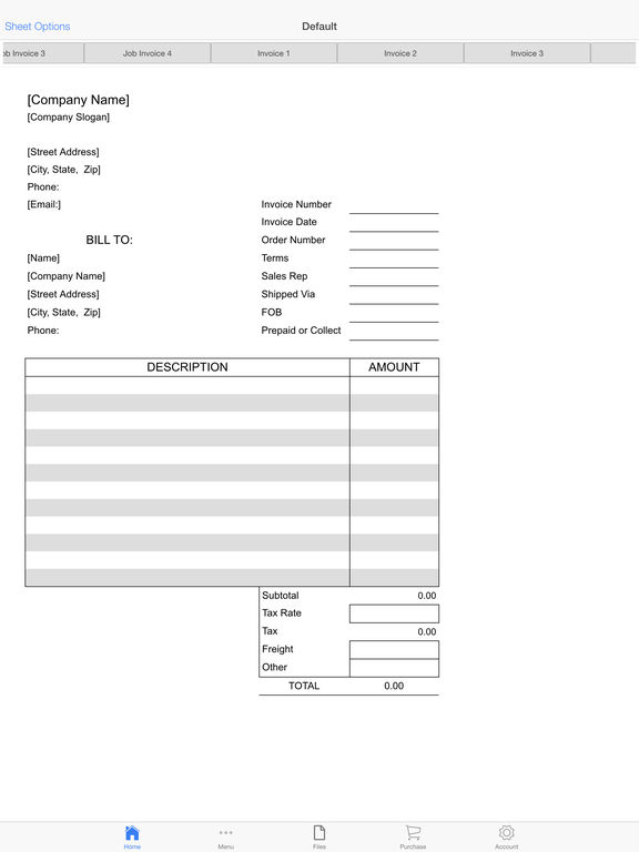 Customer Invoice Screenshots