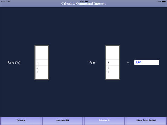 Coller Capital IRR Calculator App iPad Screenshot 2