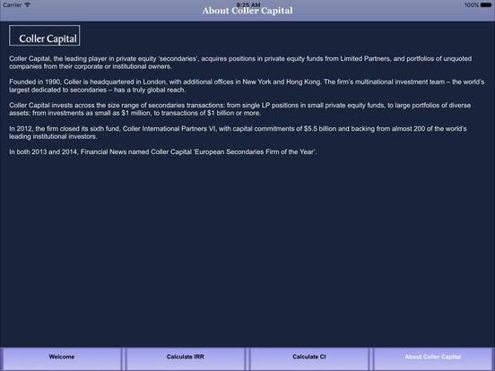 Coller Capital IRR Calculator App iPad Screenshot 1