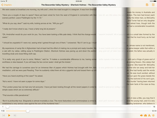 The Boscombe Valley Mystery – AudioEbook iPad Screenshot 1