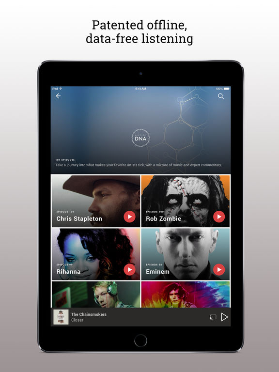 Screenshots of Slacker Radio for iPad