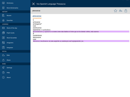 Vox Spanish Language Thesaurus iPad Screenshot 5