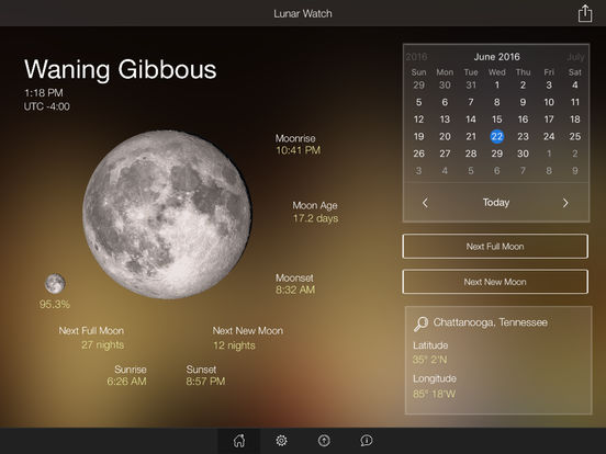 Lunar Watch moon phase calendar screenshot