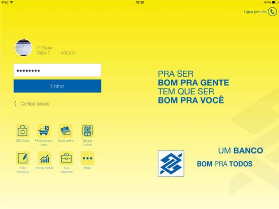 Banco do Brasil iPad Screenshot 1