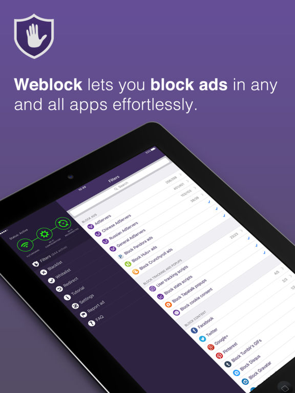 Weblock - AdBlock for apps and websites Screenshots