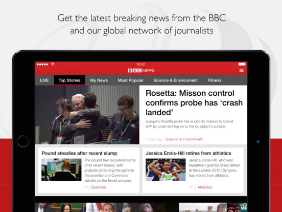 Screenshots of BBC News for iPad