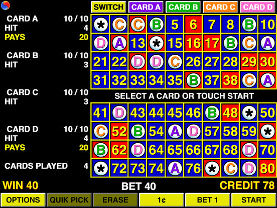 Keno 4 Multi Card - Las Vegas Casino iPad Screenshot 1