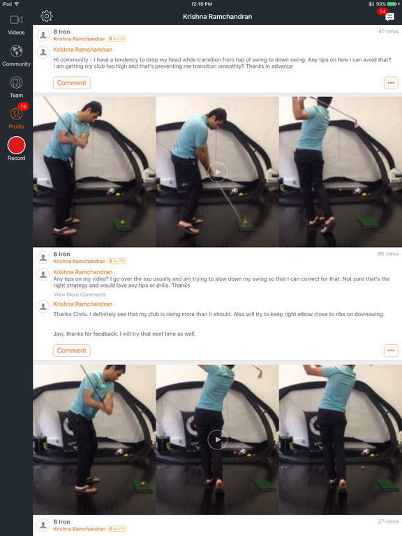 Hudl Technique Golf: Slow Motion Swing Analysis Screenshots