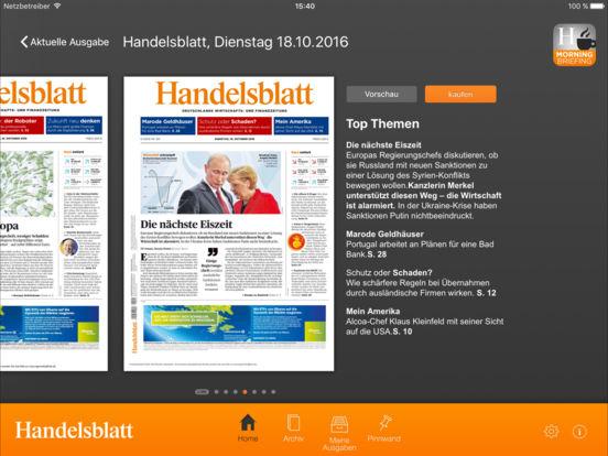 Handelsblatt ePaper iPad Screenshot 1