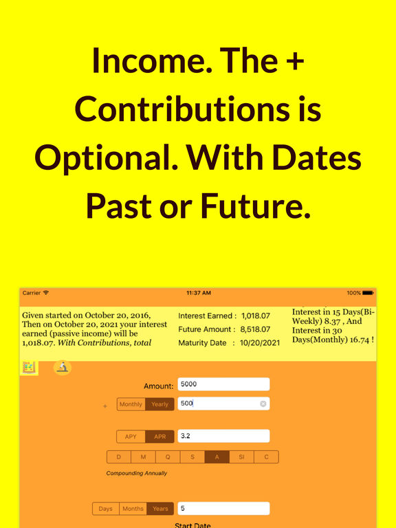 Illuminating Compound Interest Calculator Screenshots