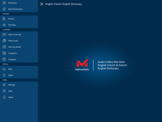 Audio Collins Mini Gem English-French & French-English Dictionary iPad Screenshot 1