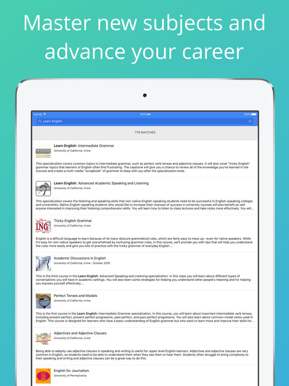 Screenshots of Coursera: Online courses for iPad