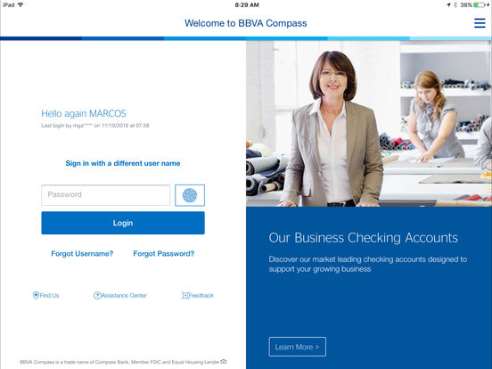 BBVA Compass Mobile Banking (PD) iPad Screenshot 2