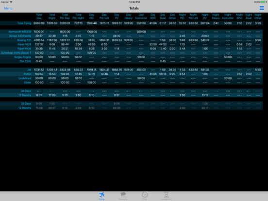 PilotLog Offline iPad Screenshot 2