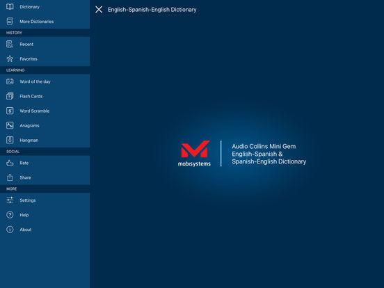 Audio Collins Mini Gem English-Spanish & Spanish-English Dictionary iPad Screenshot 1