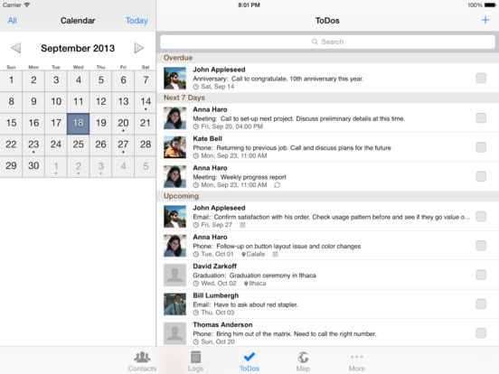Contacts Journal CRM (iPad version) Screenshots