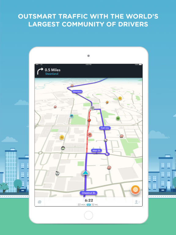 Screenshots of Waze for iPad