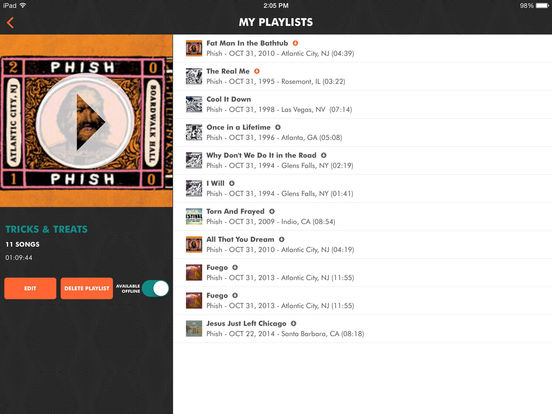 Live Phish iPad Screenshot 2