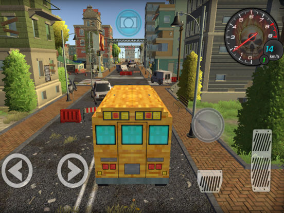 Pixel School Bus Free Style Driving Screenshots